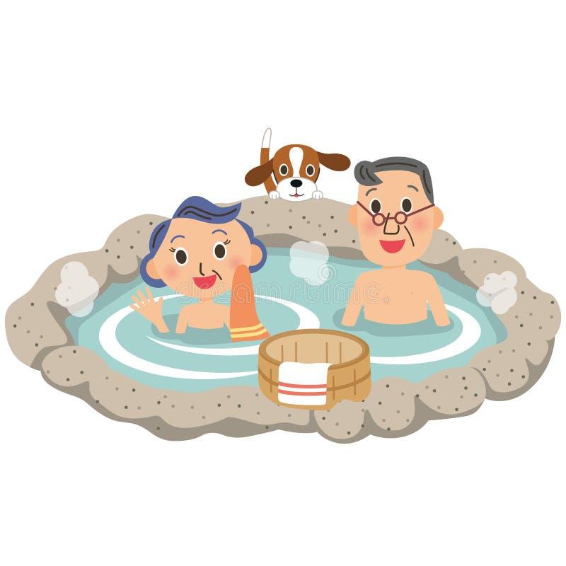 Viejos pares y aguas termales stock de ilustración