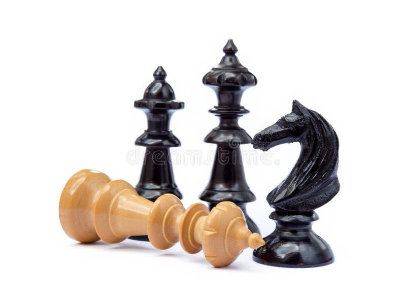 Viejos pedazos de ajedrez fotos de archivo