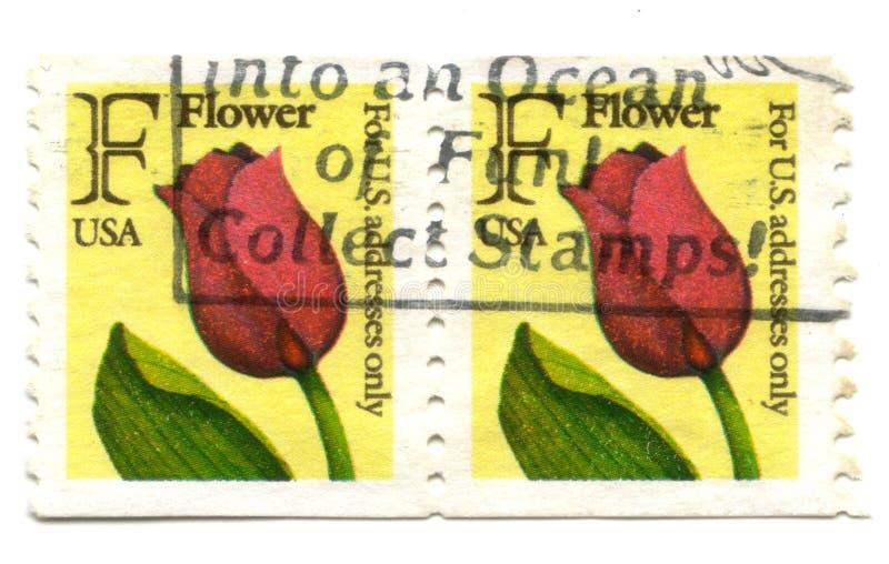 Viejos sellos de las flores de los E.E.U.U. fotografía de archivo libre de regalías