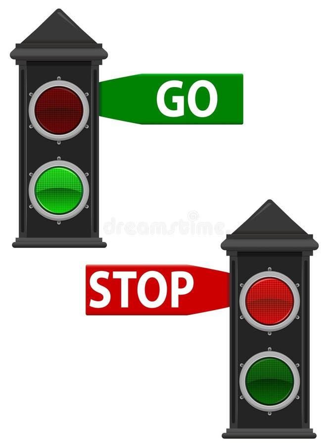 Viejos semáforos stock de ilustración