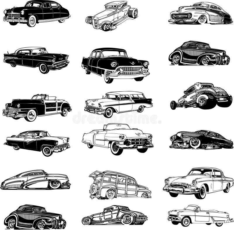 Viejos vectores del coche modelo stock de ilustración
