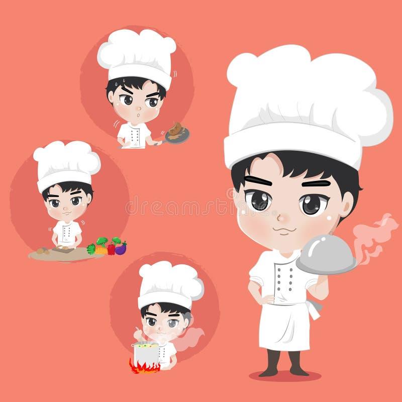 Viel Chefjunge Klage auf das Kochen stock abbildung