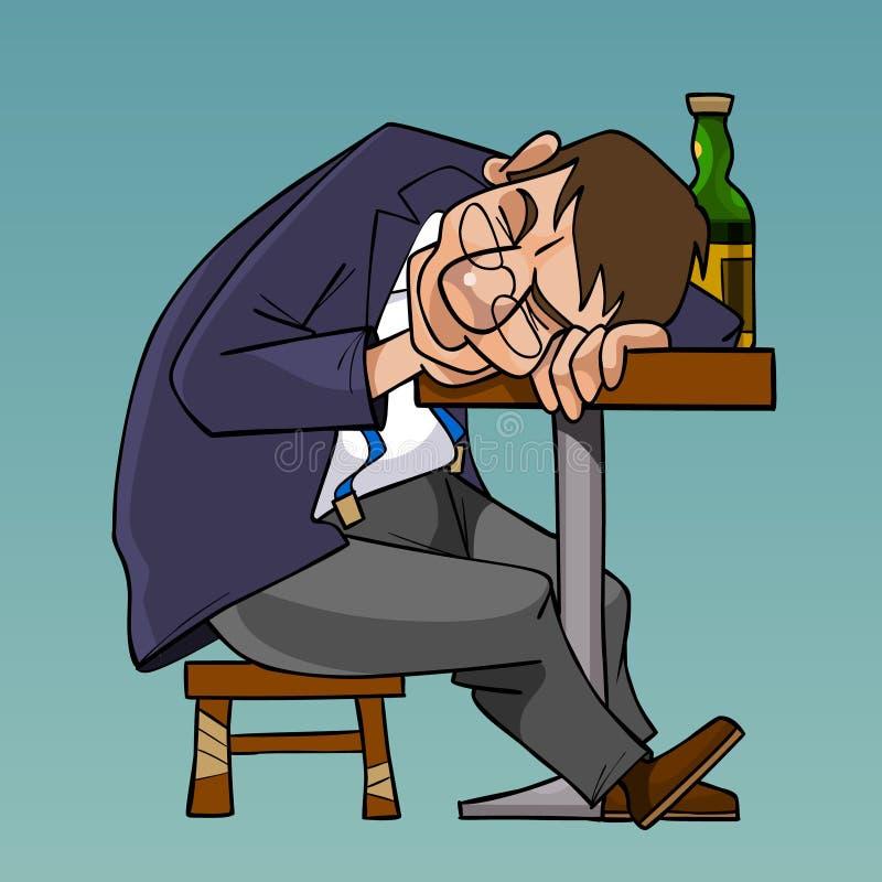 Viel de beeldverhaal gedronken mens in een kostuum in slaap zitting bij de lijst vector illustratie