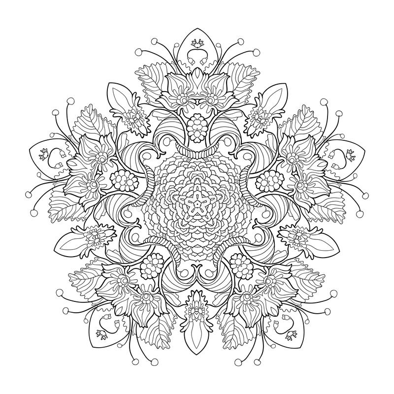 Viel Elementfrühlingsblumenmandala vektor abbildung