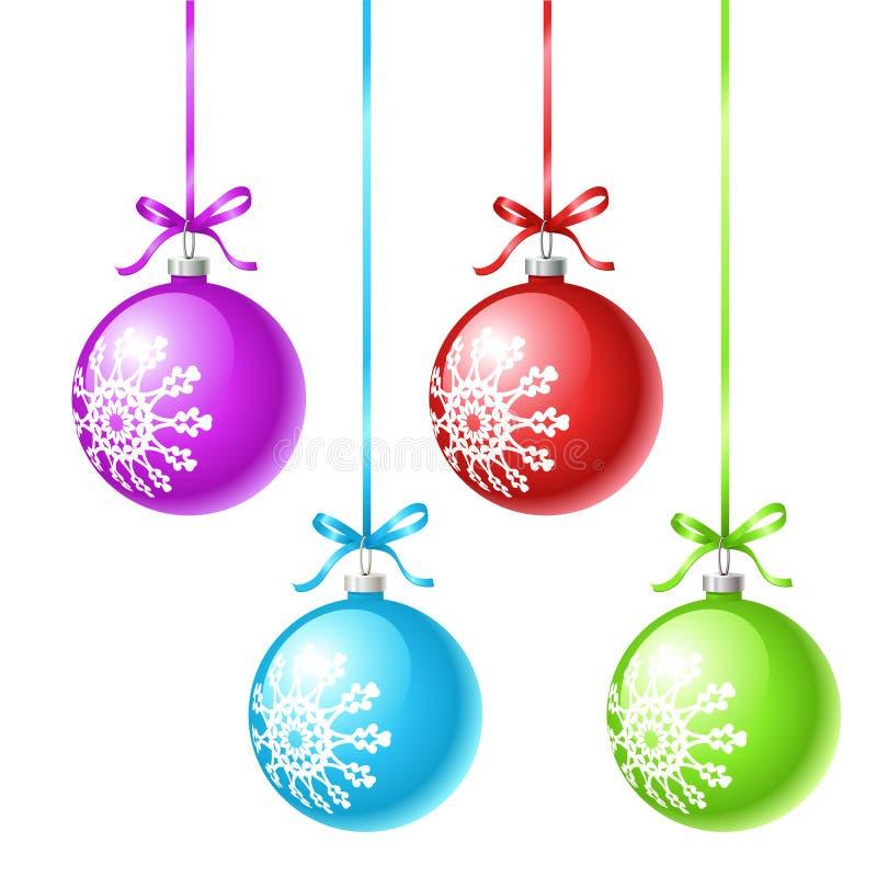 Viel-farbige Weihnachtskugeln vektor abbildung
