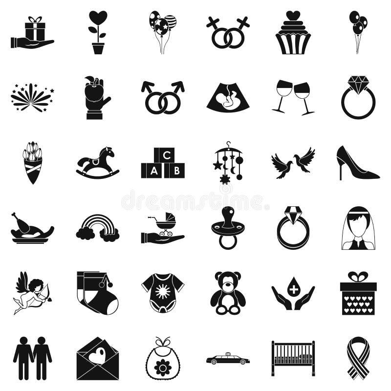 Viel geplaatste pictogrammen, eenvoudige stijl vector illustratie