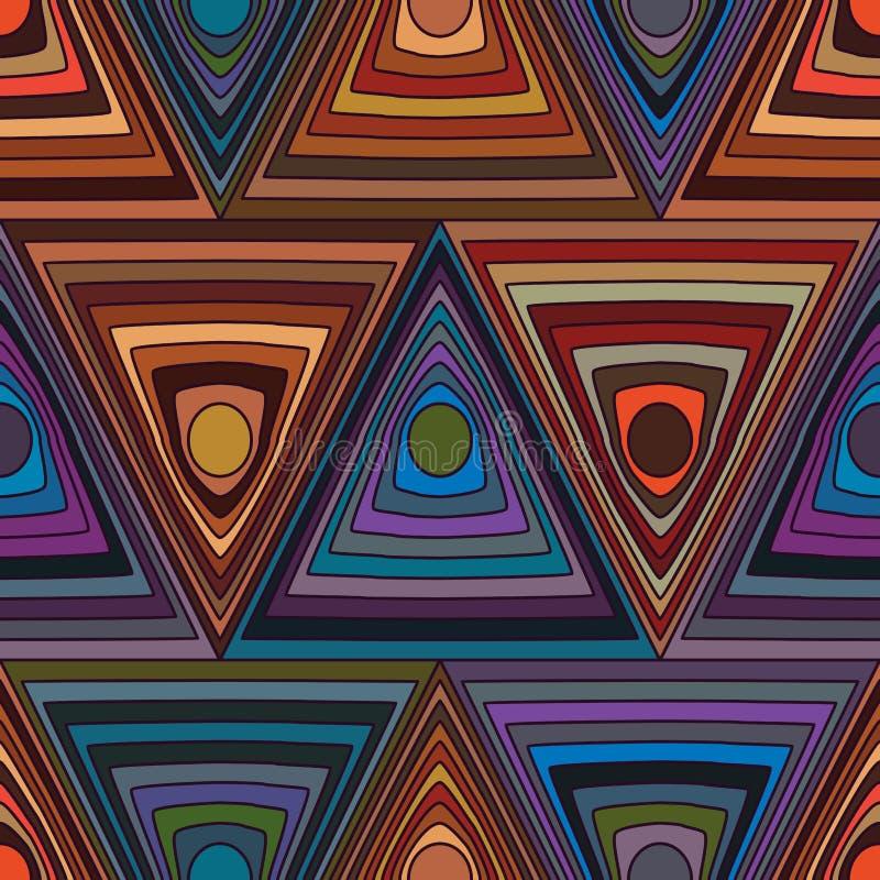 Viel Kreisdreiecklinie nahtloses Muster stock abbildung