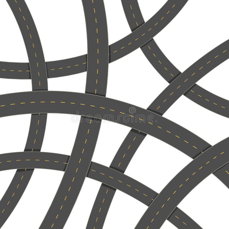 Viel Kreuzungsasphaltstraße auf einem weißen Hintergrund Landstraße, Weg, Straßen stock abbildung
