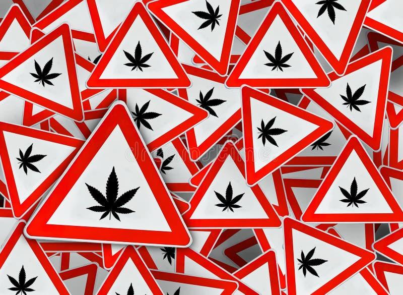 Viel Marihuana auf rotem DreieckVerkehrsschild vektor abbildung