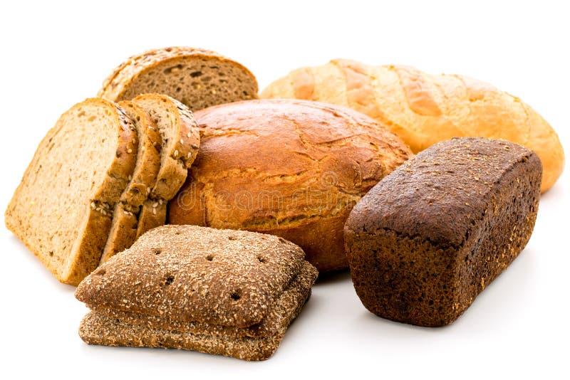 Viel unterschiedliches Brot auf einem weißen Hintergrund stockbild