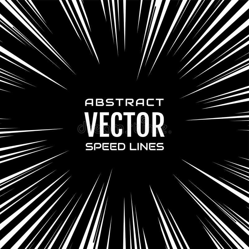 Viel weiße komische Radialgeschwindigkeit zeichnet auf schwarzer Basis Explosion stock abbildung