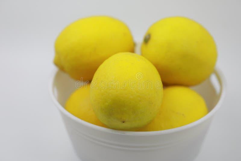 Viel Zitrone in einer Plastikschüssel lizenzfreies stockbild