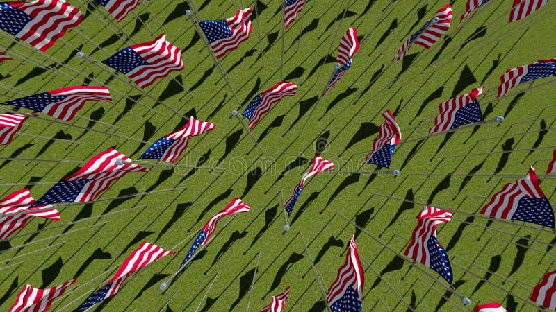 Viele amerikanischen Flaggen auf dem grünen Gebiet stock abbildung