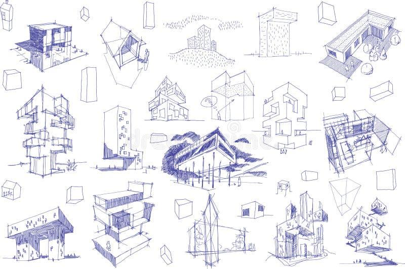 Viele Architekturskizzen einer modernen abstrakten Architektur und der geometrischen Gegenstände vektor abbildung