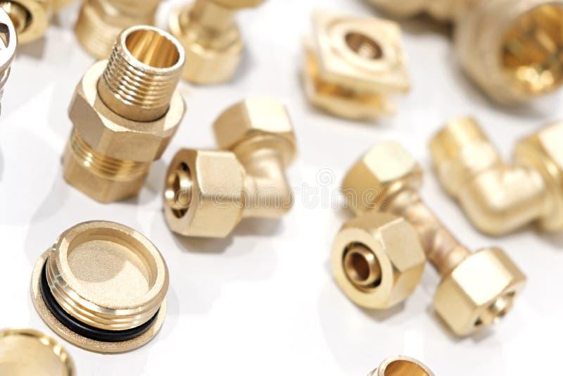 Viele Arten Metallkupfermessingdetail-Industriedesignhintergrund lizenzfreies stockbild
