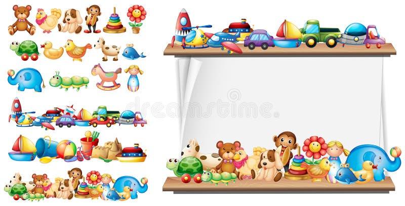 Viele Arten Spielwaren und Papierschablone vektor abbildung