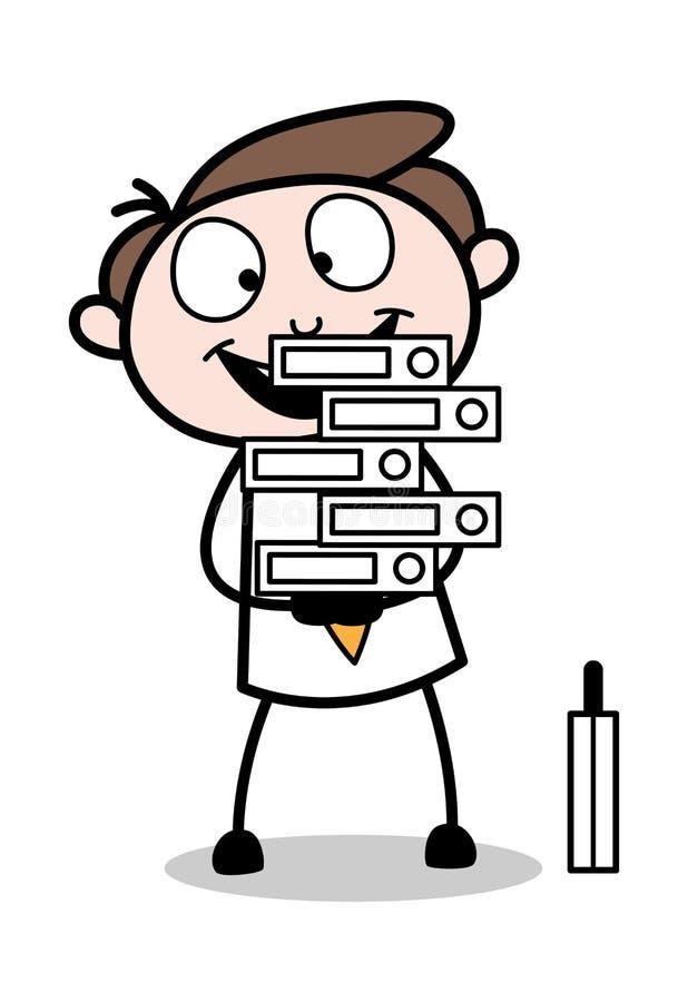 Viele Dateien halten - Büro-Geschäftsmann-Employee Cartoon Vector-Illustration lizenzfreie abbildung