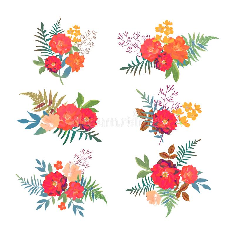 Viele dekorativen Elemente Sammlung mit roten orange schönen Blumen Hand d vektor abbildung