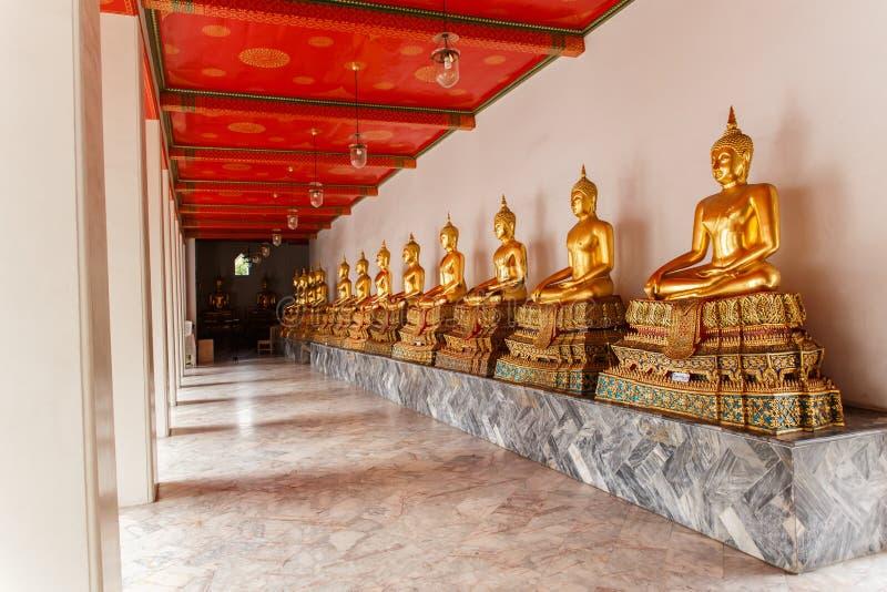 Viele des großartigen goldenen Buddhas stockbild