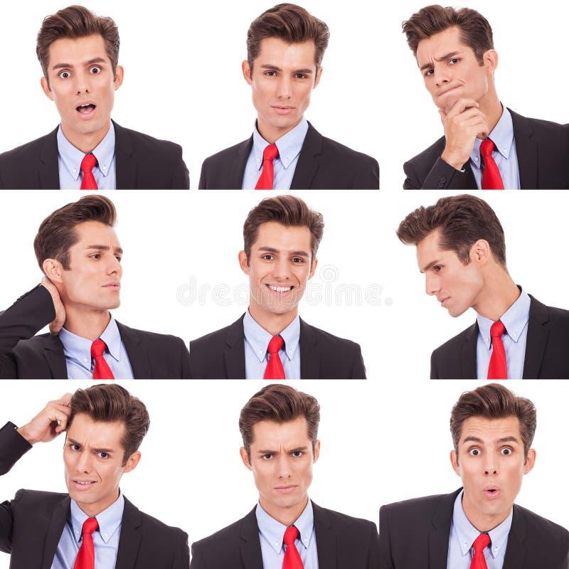 Viele emotionalen im Gesichtausdrücke des Geschäftsmannes stockfoto