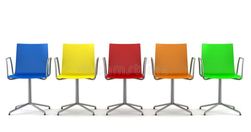 Viele färben Bürostühle getrennt auf Weiß stock abbildung