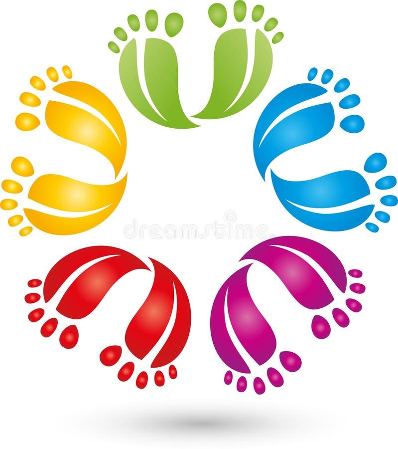 Viele Füße in der Farbe, Füße und Fußpflegelogo vektor abbildung