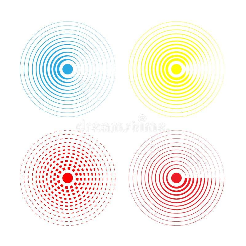 Viele Farben wässern die lokalisierten Ringe Solide Kreiswelleneffektvektor-Musterillustration Konzentrische sihnal Schablone für vektor abbildung