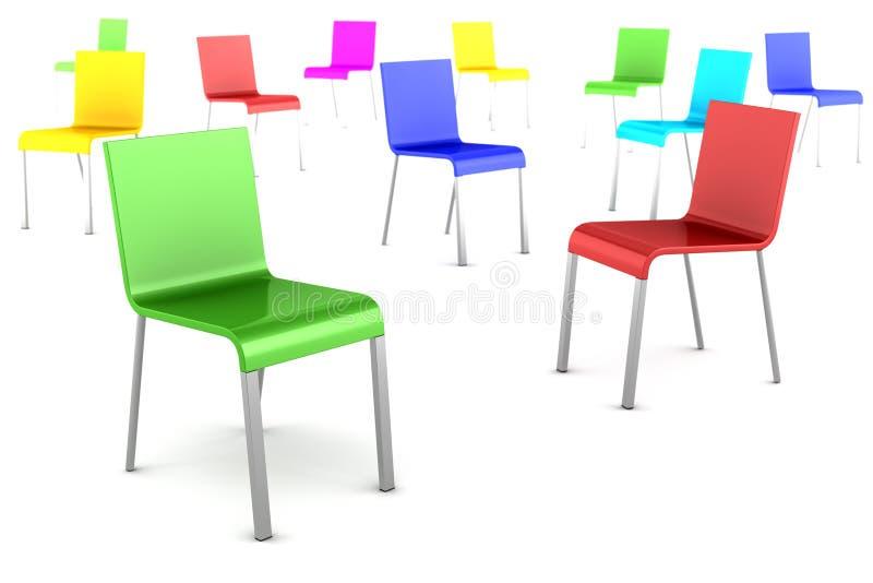 Viele Farbenstühle getrennt auf Weiß stock abbildung