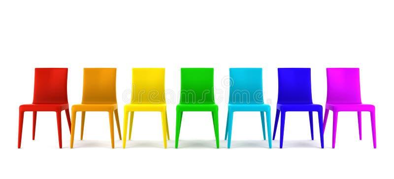 Viele Farbenstühle getrennt auf Weiß vektor abbildung
