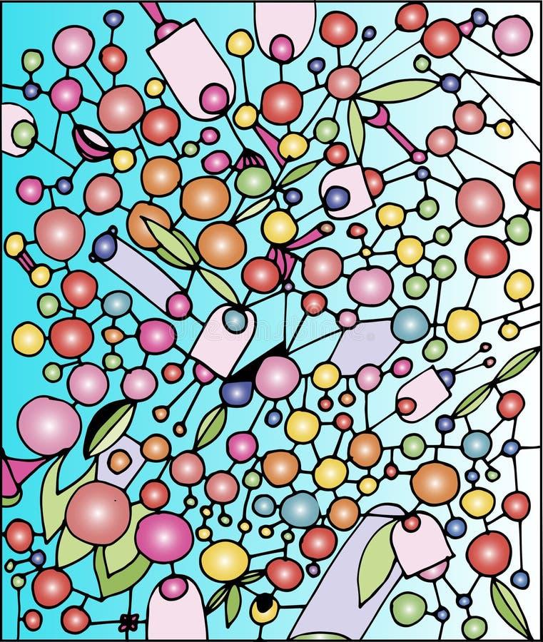 Viele farbigen Bälle auf einem blauen Hintergrund stock abbildung