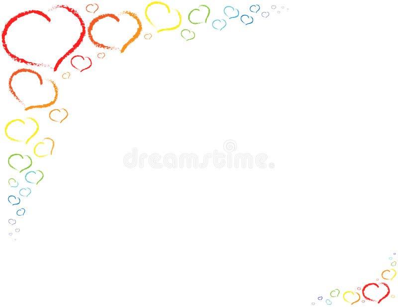 Viele farbigen Herzen auf transparentem Hintergrund lizenzfreie abbildung