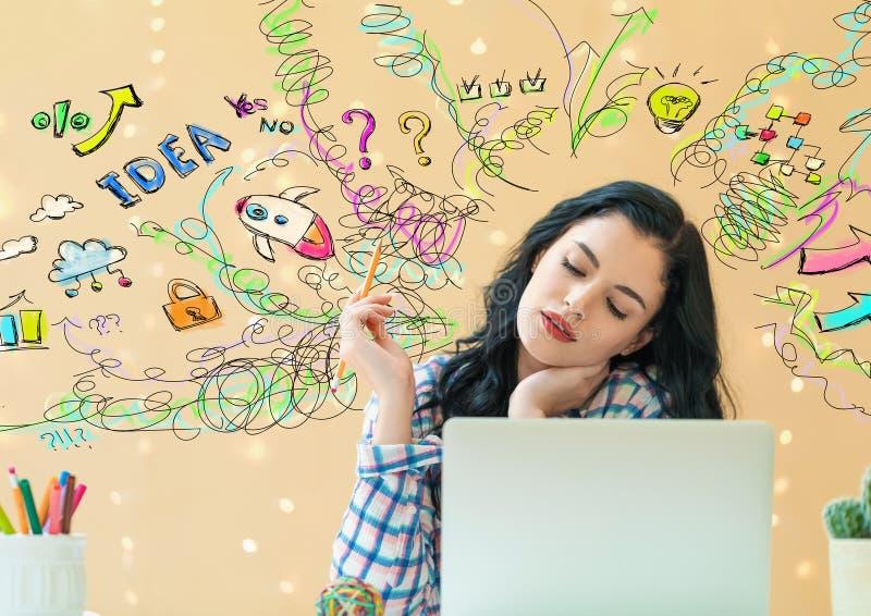 Viele Gedanken mit junger Frau lizenzfreie stockbilder