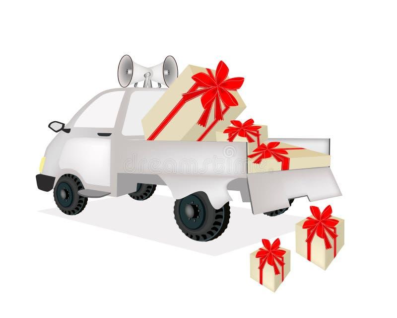 Viele Geschenkboxen auf einem Kleintransporter vektor abbildung
