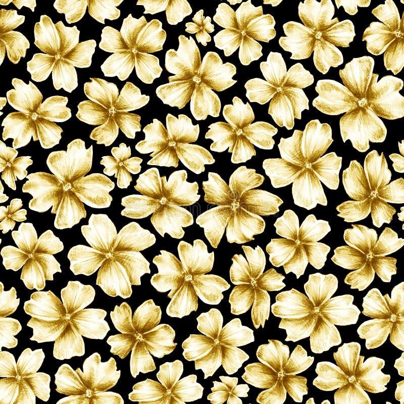 Viele goldenen farbigen Blumen der unterschiedlichen Größe wie Schmuckbrosche auf schwarzem Hintergrund stock abbildung