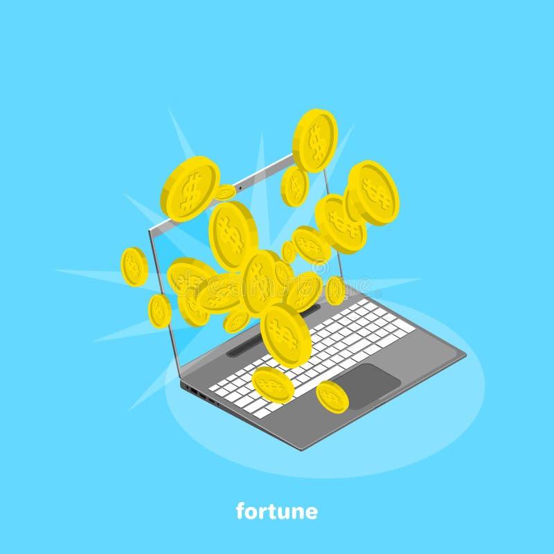 Viele Goldmünzen, die vom Laptopschirm fliegen vektor abbildung