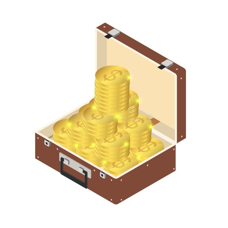 Viele Goldmünzen in einem Koffer mit einem Griff im isometrischen lizenzfreie abbildung