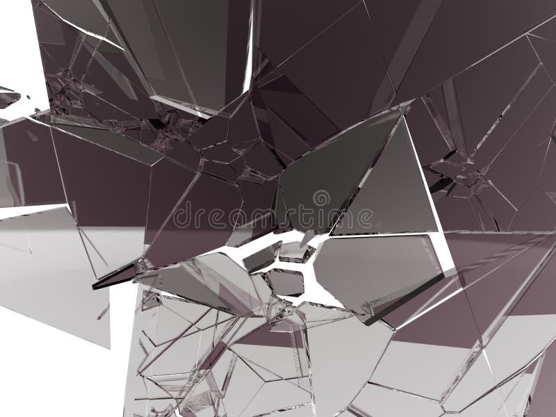 Viele großen Stücke zerbrochenes Glas lokalisiert auf Weiß stock abbildung