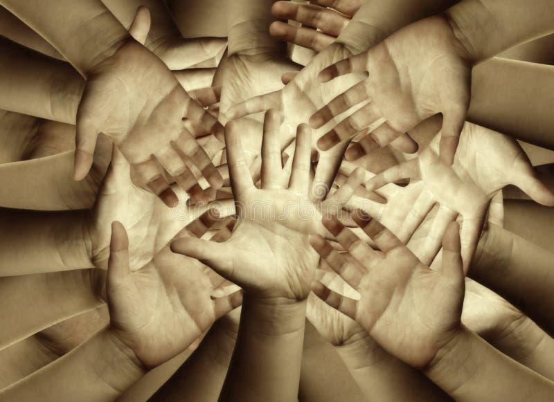 Viele Hände stockfotografie