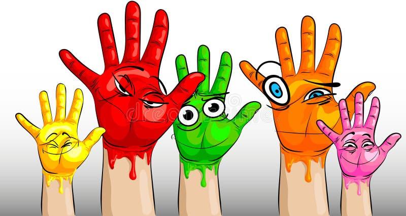 Viele Hände in der mehrfarbigen Farbe und mit den lustigen und lustigen Gesichtern auf den Palmen lizenzfreie abbildung
