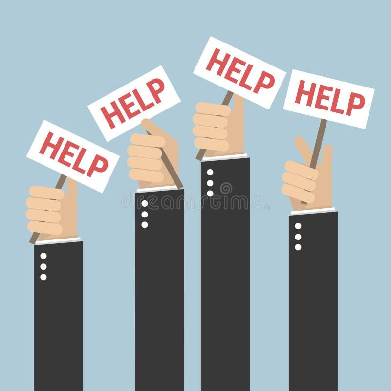 Viele Hände halten Plakate, Vektor illustion flache Designart stock abbildung