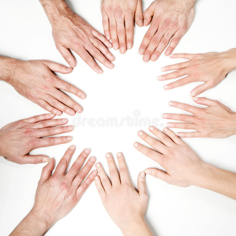 Viele Hände zusammen lizenzfreie stockfotografie
