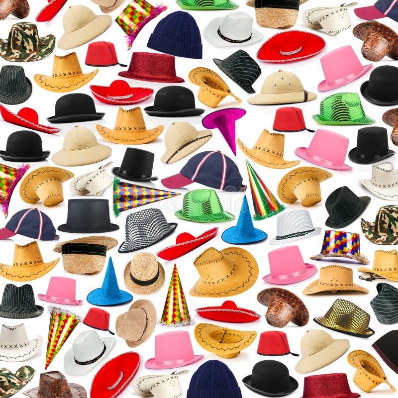 Viele Hüte vereinbart lizenzfreie stockfotos