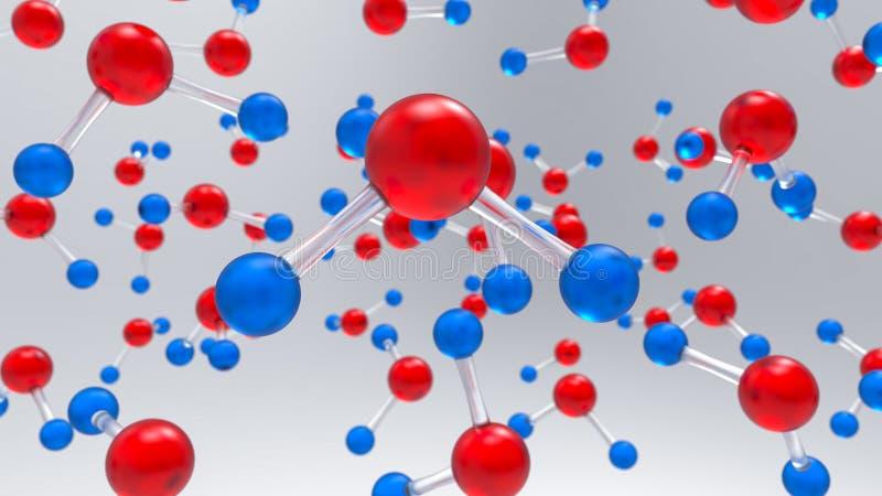 Viele H2O-Moleküle des Wassers mit rotem Atom des Sauerstoffes und der blauen Wasserstoffatome vektor abbildung