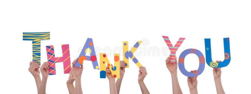 Viele Handdas halten danken Ihnen lizenzfreies stockfoto