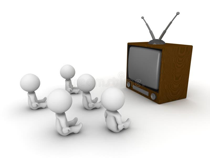 Viele Kerle 3D, die aufpassendes Fernsehen sitzen lizenzfreie abbildung