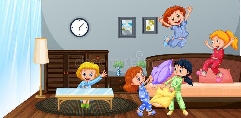 Viele Kinder, die im Schlafzimmer spielen lizenzfreie abbildung