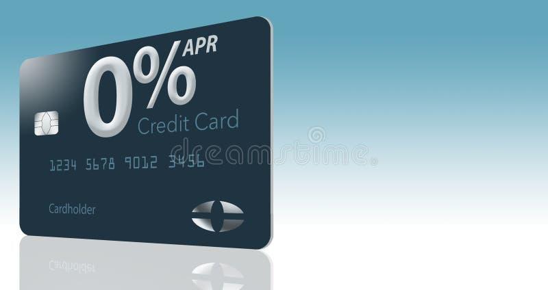 Viele Kreditkarteangebote umfassen jetzt einen jährlichen Prozentsatz von null Prozent für 12-15 Monate und diese generische Sche stock abbildung