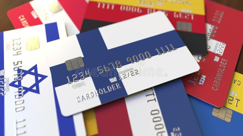 Viele Kreditkarten mit verschiedenen Flaggen, hoben Bankkarte mit Flagge von Finnland hervor Wiedergabe 3d lizenzfreie abbildung