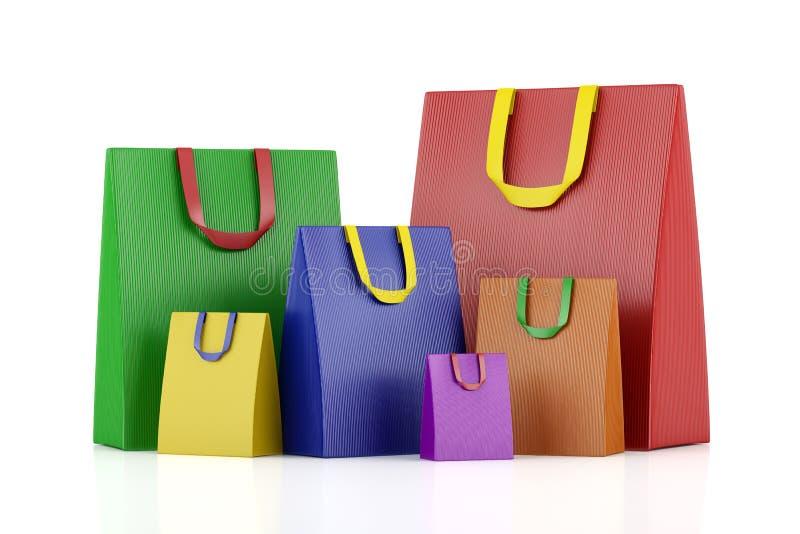 Viele leeren Farbeinkaufstaschen lokalisiert auf Weiß vektor abbildung