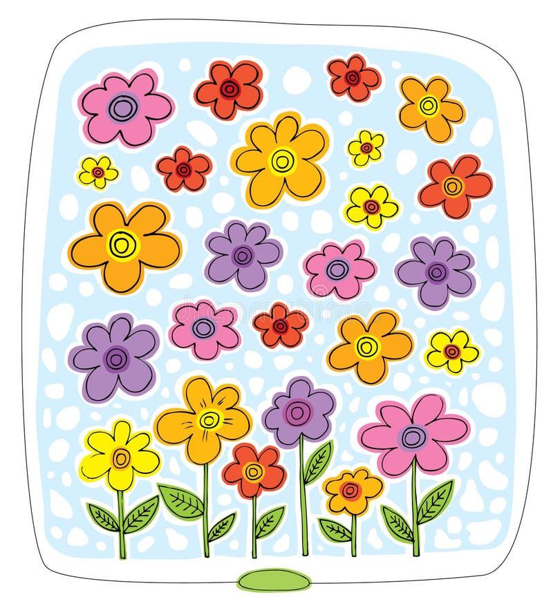 Viele mehrfarbigen Blumen auf einem blauen Hintergrund stock abbildung